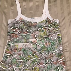 Express Tops - Grey floral ruffle tank from express